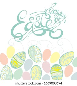 Easter eggs composition .Happy Easter colorful lettering