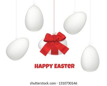 Easter eggs concept, festive vector realistic design