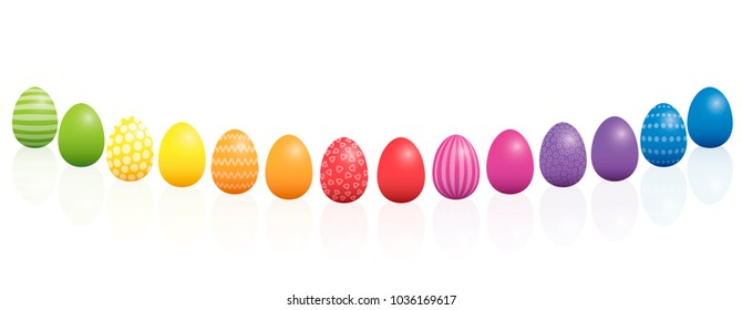 Easter eggs. Curved line, different colors and patterns. Rainbow colored three-dimensional isolated vector illustration on white background.