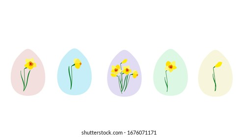 Easter eggs. Daffodil flowers. Vector illustration.