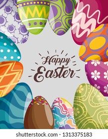 easter eggs decoration to event celebration vector illustration