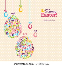 Easter eggs in doodle minimalism style with place for your text. Vector retro illustration
