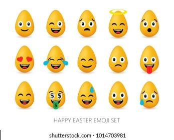 4bcc3b58a62f Easter eggs emoji set. Cute funny emotional icons. Happy emoticons. Smiling  faces symbols