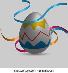 Easter eggs with fabric decoration.for celebration day,invitation,giving card,holliday,easter day