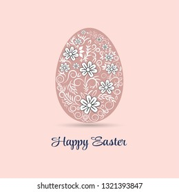 Easter eggs with floral pattern for card in vector illustration