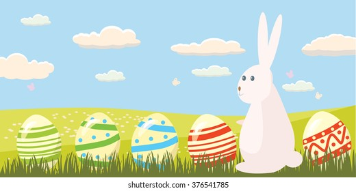 Easter eggs in the grass with dandelions and Easter bunnies in a landscape, banner, vector illustration