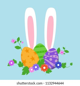 Easter eggs in green grass with flowers, isolated on white background. Vector illustration