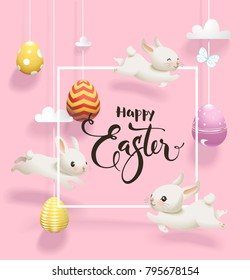 Easter eggs hanging on threads, white rabbits jumping around, square border and traditional holiday wish hand written with elegant calligraphic font against pink background. Vector illustration