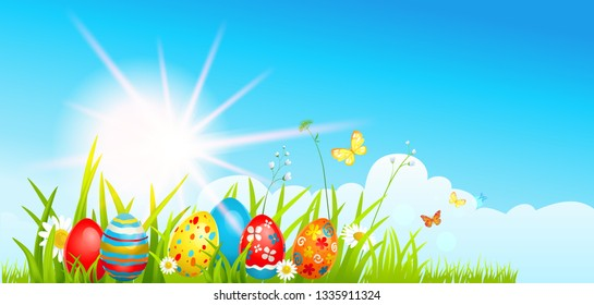 Easter eggs hunting and batterflies on a grass. Blue sky and a sun. Holiday spring design for card, banner, ticket, leaflet, poster and so on. Template with space for text.