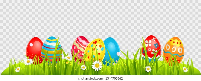 Easter eggs hunting and batterflies on a grass. Holiday design element isolated for card, banner, ticket, leaflet, poster and so on. Template with space for text.