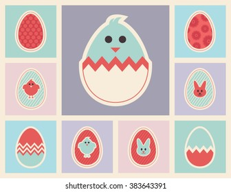 Easter eggs icons collection on a colorful grid background. Set of vector spring design elements in pastel colors.