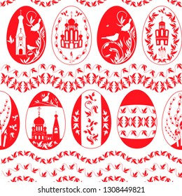 Easter eggs with the image of Orthodox churches and ornaments, a shameless vector pattern