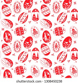 Easter eggs with the image of Orthodox churches, shameless vector pattern
