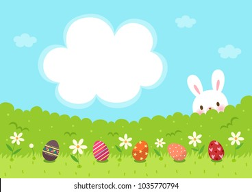 Easter eggs on grass and Easter bunny with cute frame template