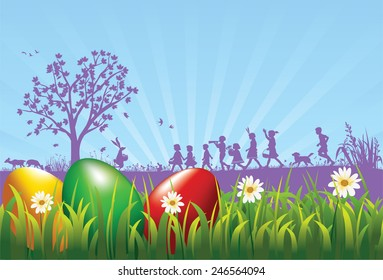 Easter eggs on the meadow with silhouette of bunny and children as a background. Layered and grouped EPS10