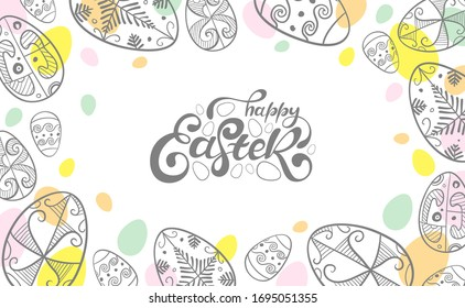 Easter eggs on white background. Vector illustration greeting card, ad, promotion, poster, flyer, web-banner