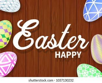 Easter eggs on a wooden table. Realistic style. happy Easter. Vector illustration.