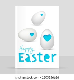 Easter eggs with papercut effect, festive vector realistic design