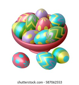 Easter eggs in a plate on white background. Vector, isometric, illustration for postcards and  your design