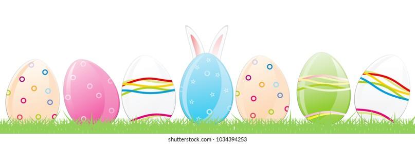 Easter Eggs, Rabbit Ears Vector illustration