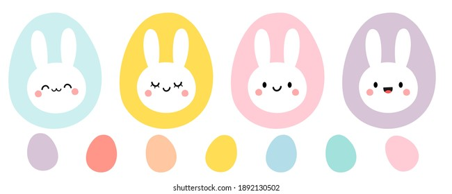 Easter eggs and rabbit head icon set isolated on white background vector illustration. Cute cartoon character.