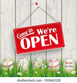 """Easter eggs, with red hanging sign and text """"com in, we're open"""".  Eps 10 vector file."""