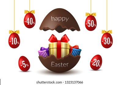 Easter eggs sale. Broken Happy Easter chocolate egg 3D template isolated white background. Design promotion, greeting holiday decoration, special offer. Gift box, ribbon bow Vector illustration