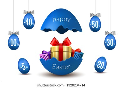 Easter eggs sale. Broken Happy Easter egg 3D template isolated white background. Design promotion banner, greeting holiday decoration, special offer discount. Gift box, ribbon bow Vector illustration