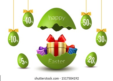 Easter eggs sale. Broken Happy Easter egg 3D template isolated on white background. Design banner, greeting, promotion, holiday decoration, special offer discount. Gold gift box Vector illustration