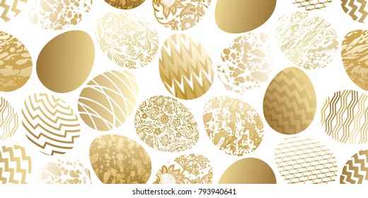Easter eggs seamless pattern. Flower, geometric and marble patterns. Festive design. Gold foil and white. Vector illustration art.