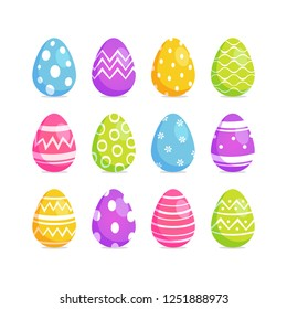 Easter Eggs set. Collection of Easter eggs with different designs. Isolated. Vector