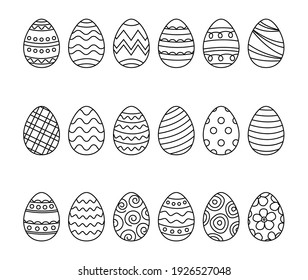 Easter eggs set doodle style. Happy easter hand drawn isolated on white background.