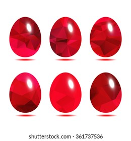 Easter eggs set  low polygon in Red rose color isolated on white background vector illustration