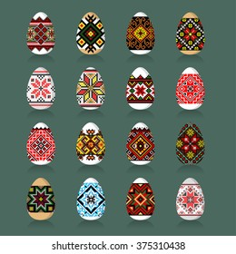 Easter Eggs Set in traditional ukrainian painting style