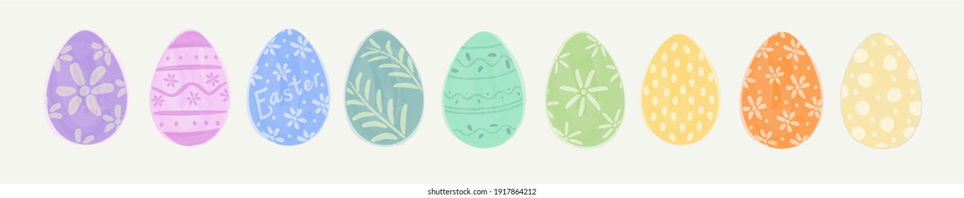 Easter Eggs. Set of vector illustrations in watercolor style. Colored Easter eggs.