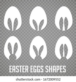 Easter eggs shapes with bunny ears silhouette - traditional symbol of holiday, big set. Simple eggs hunt design collection. Vector illustration for poster, card or banner.