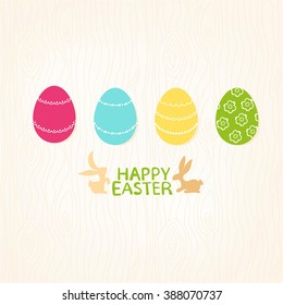 Easter eggs and silhouettes of rabbits with greetings of Happy Easter on a seamless wooden background, vector illustration