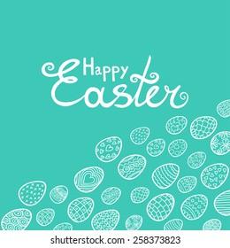 Easter eggs stylish blue background