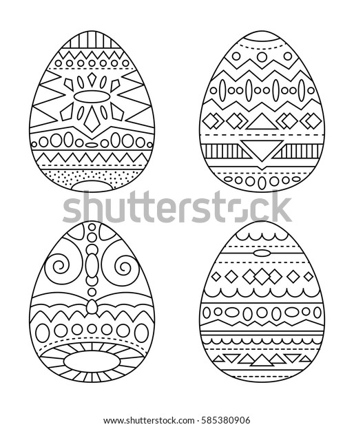 Easter Eggs Tribal Ornament Vector Coloring Stock ...