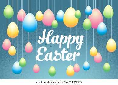 Easter eggs vector card for instagram and internet