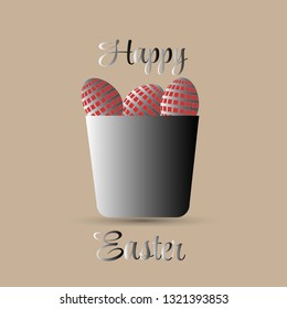 easter eggs vector illustration in silver bucket