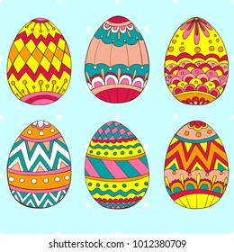 Easter eggs. Zentangle and doodle design elements.