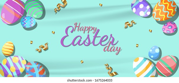 Easter Festival wallpaper eggs colorful vector design EPS.