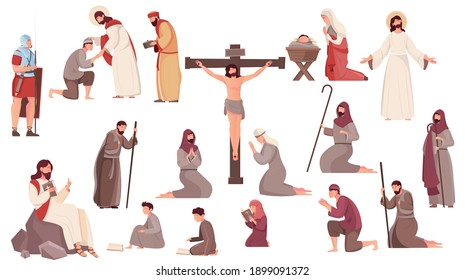 Easter flat icons set with crucifixion resurrection and birth of jesus christ and praying people isolated on white background vector illustration