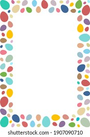 Easter frame with colorful eggs on white isolated background.
