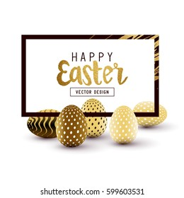Easter Frame design with gold lettering and gold easter egg patterns. Vector illustration
