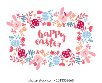 Easter frame with eggs and flowers. Easter card template with colored eggs. Square frame with easter eggs, bunny, flowers