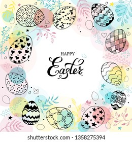 Easter frame with easter eggs and text happy easter hand drawn black on white background. Decorative frame from eggs. Easter eggs with colorful leaves, butterflies and dots. Vector illustration