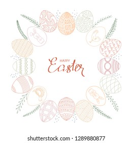 Easter frame. Painted colorful Easter eggs with ornaments, arranged in a circle, decorated with floral elements and dots on a white background. Vector.