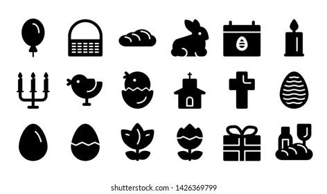 easter glyph icon symbol set